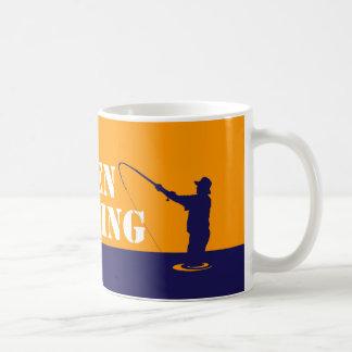 Fun fishermen message: Reel men go fishing, Coffee Mug