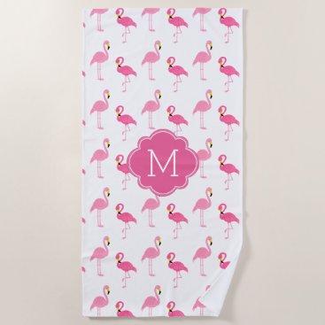 Beach Themed Fun Flamingos Pattern Monogrammed Beach Towel