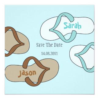Fun Flip Flop Wedding Save the Date -blue 5.25x5.25 Square Paper Invitation Card