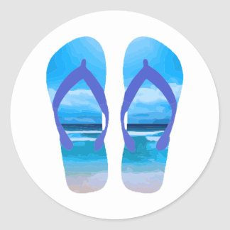 Fun Flip Flops Summer Beach Art for Vacation Classic Round Sticker