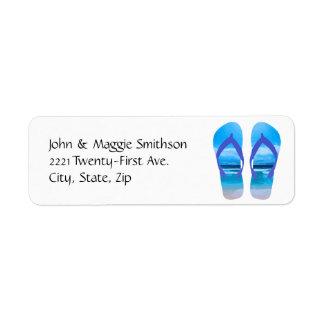 Fun Flip Flops Summer Beach Art for Vacation Label