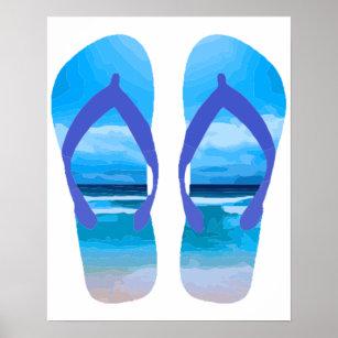 201bb881d927b Fun Flip Flops Summer Beach Art for Vacation Poster