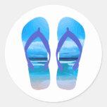 Fun Flip Flops Summer Beach Art for Vacation Classic Round Sticker