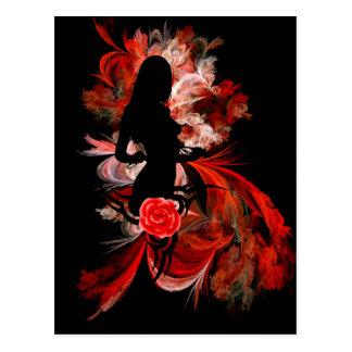 Fun flirty adult romantic woman on red postcard