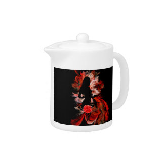 Fun flirty adult romantic woman on red teapot