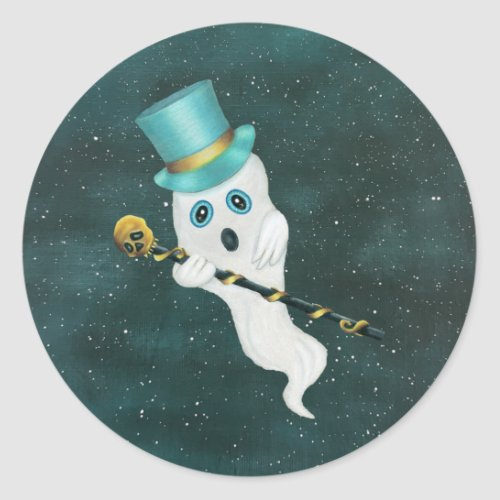 Fun Floating Ghost Aqua Top Hat Skull Cane in Sky Classic Round Sticker