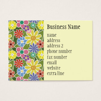 Fun Floral Bright Chubby Business Card