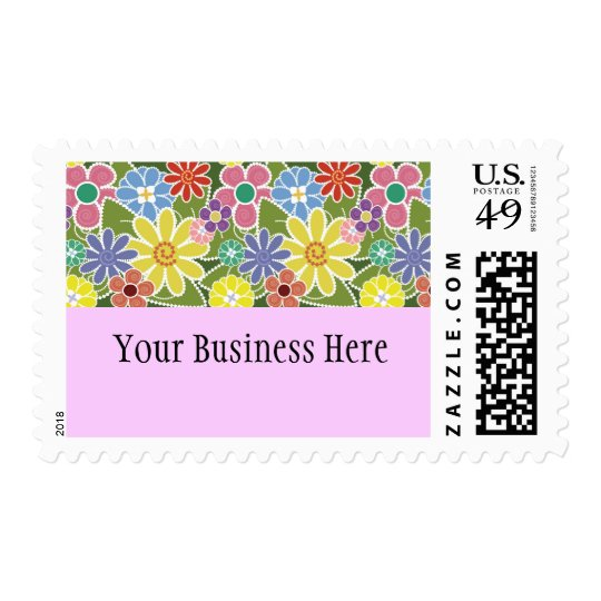 Fun Floral Bright Postage Stamp