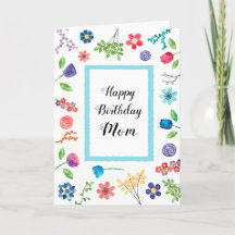 Fun Floral Happy Birthday Mom or Any Name Greeting Card