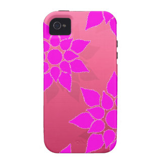 Fun Floral in Fucshia over Pink Vibe iPhone 4 Cover