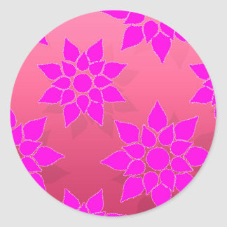 Fun Floral in Fucshia over Pink Classic Round Sticker