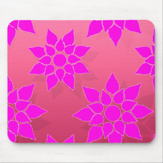 Fun Floral in Fucshia over Pink Mouse Pad