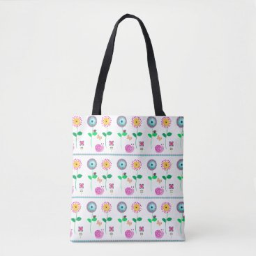 Beach Themed Fun Floral Whimsical Bag For Beach Or Shopping