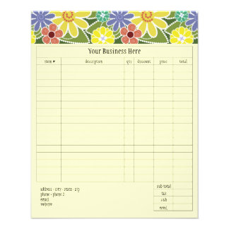 Fun Florals Bright Small Order Form Flyer