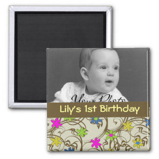 Fun Flower Baby Favor 2 Inch Square Magnet