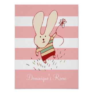 Fun Flower Bunny Children's Poster