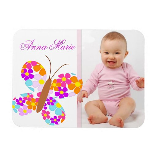 "Fun ""Flower Butterfly"" Baby Announcement Rectangle Magnets"