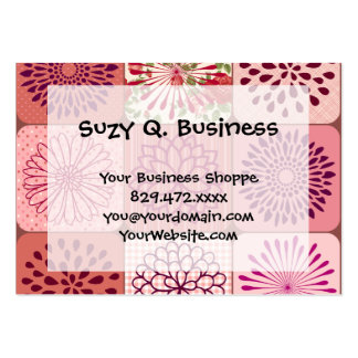 Fun Flower Collage Pink Floral Squares Large Business Cards (Pack Of 100)