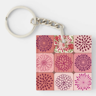 Fun Flower Collage Pink Floral Squares Keychain