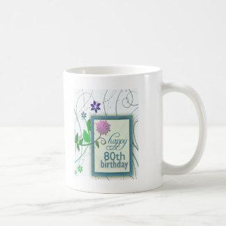 Fun flower happy 80th Birthday Coffee Mug