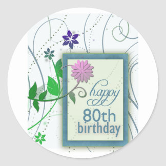 Fun flower happy 80th Birthday Sticker