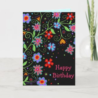 Fun Flowers and Hearts Black Happy Birthday Card
