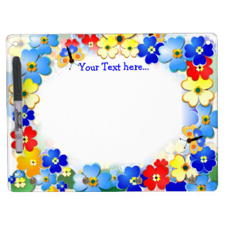 Fun Flowers ~  Dry Erase Board With Hooks