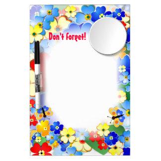 Fun Flowers Dry Erase Board With Mirror