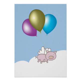 Fun Flying Pig and Balloons Art Poster