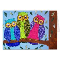 Fun Folk Art  Owls Mother's Day Card