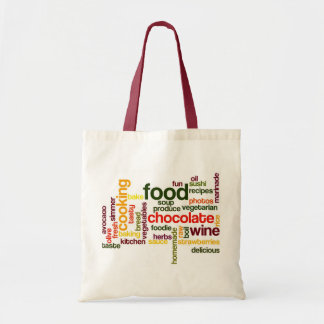 Fun Food Grocery Bag Word Cloud with Red Handles