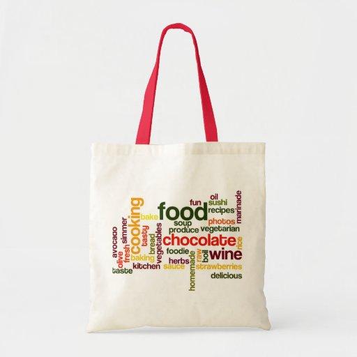 Fun Food Grocery Bag Word Cloud with Red Handles