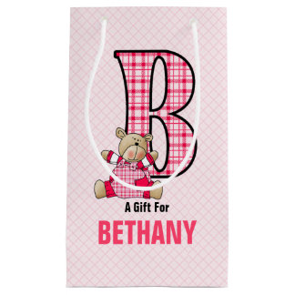 Fun for Girls the Letter B for Teddy Bear in Pink Small Gift Bag