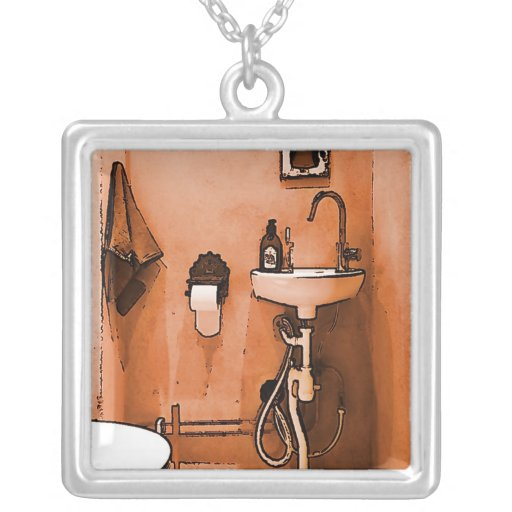 """Fun For Plumbers """"vintage Le Toilet"""" Square Pendant Necklace"""