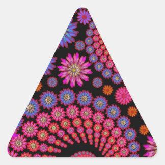 Fun Fractal Flowers Colorful Art Triangle Sticker