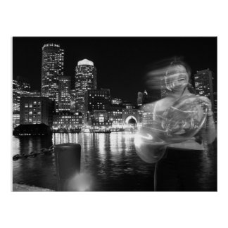 Fun French Horn Boston Harbor Poster