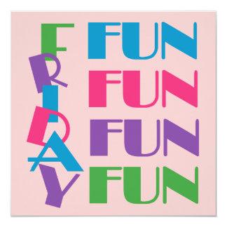 Fun Friday Sleepover or Slumber Teen Birthday 5.25x5.25 Square Paper Invitation Card