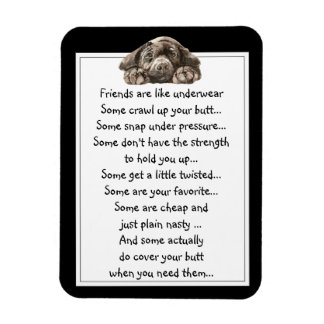 Fun Friend are like Underwear Quote with Dog Rectangular Photo Magnet