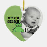 "Fun Frog ""Baby's First Christmas"" Photo Ceramic Ornament"