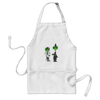 Fun Frog Bride and Groom Wedding Design Adult Apron