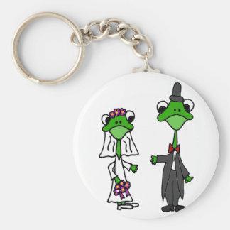 Fun Frog Bride and Groom Wedding Design Key Chain