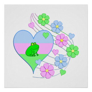 Fun Frog Heart Poster
