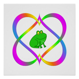 Fun Frog in Linking Hearts Poster