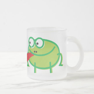Fun Frog on White Frosted Glass Coffee Mug