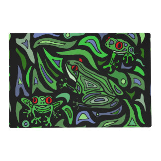 Fun Frogs Green and Black Abstract Placemat