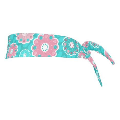 Fun funky aqua and pink floral tie headband