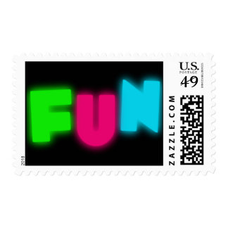 FUN Funky Groovy Neon Glow Blue Pink Green Letters Postage