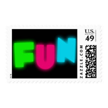 FUN Funky Groovy Neon Glow Blue Pink Green Letters Postage Stamps
