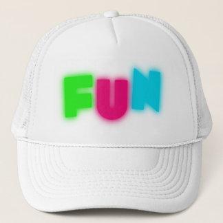 FUN Funky Groovy Neon Glow Blue Pink Green Letters Trucker Hat