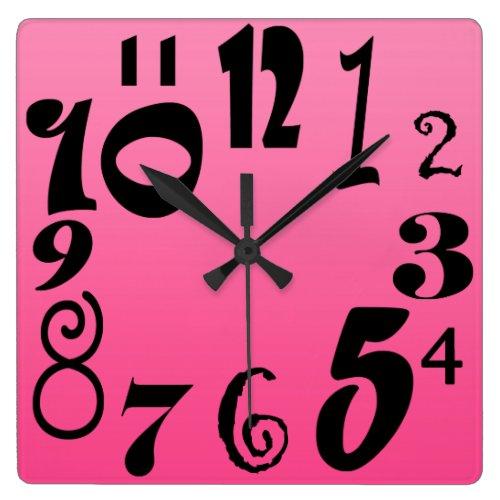 Fun funky numbers - shocking pink gradient wall clock